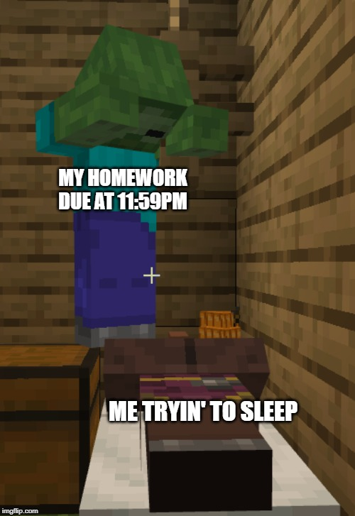 The Zombie Who Watches You While You Seleep |  MY HOMEWORK DUE AT 11:59PM; ME TRYIN' TO SLEEP | image tagged in minecraft,school,homework,high school | made w/ Imgflip meme maker