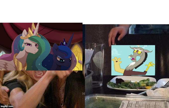 Confused Discord | image tagged in memes,woman yelling at cat,discord,princess celestia,princess luna,mlp | made w/ Imgflip meme maker