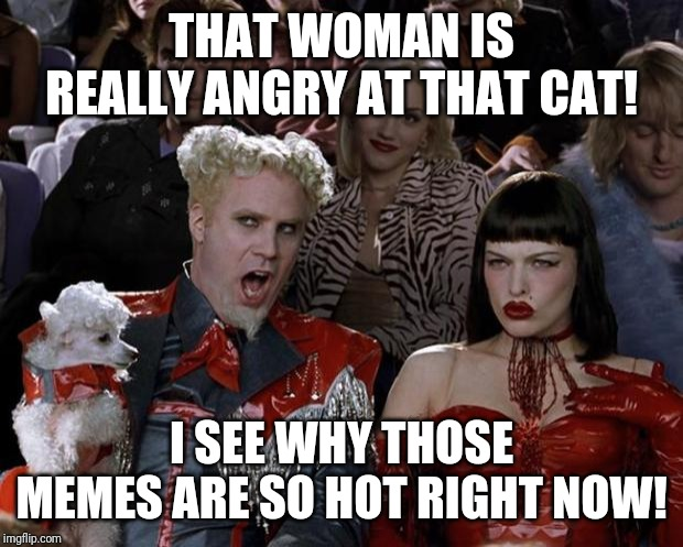 Mugatu So Hot Right Now | THAT WOMAN IS REALLY ANGRY AT THAT CAT! I SEE WHY THOSE MEMES ARE SO HOT RIGHT NOW! | image tagged in memes,mugatu so hot right now | made w/ Imgflip meme maker