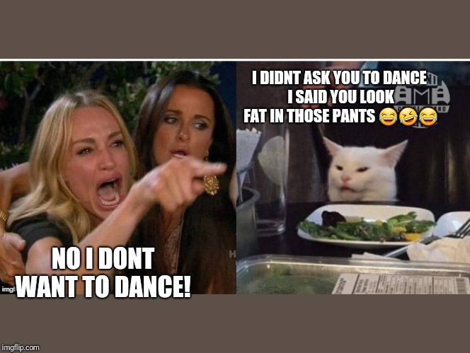 white cat table | NO I DONT WANT TO DANCE! I DIDNT ASK YOU TO DANCE I SAID YOU LOOK FAT IN THOSE PANTS ??? | image tagged in white cat table | made w/ Imgflip meme maker