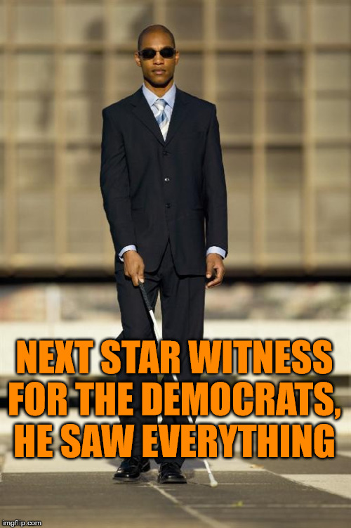 More eye witnesses |  NEXT STAR WITNESS FOR THE DEMOCRATS, HE SAW EVERYTHING | image tagged in blindman,impeach trump,witnesses,democrats | made w/ Imgflip meme maker