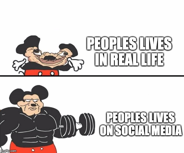 Micky Mouse |  PEOPLES LIVES IN REAL LIFE; PEOPLES LIVES ON SOCIAL MEDIA | image tagged in micky mouse | made w/ Imgflip meme maker
