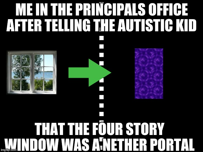 Image Tagged In Autism Fun Memes Minecraft Windows Nether Portal