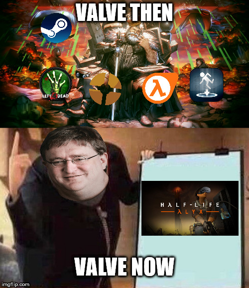 Valve |  VALVE THEN; VALVE NOW | image tagged in gabe newell,valve,video games,memes,funny memes,half life 3 | made w/ Imgflip meme maker