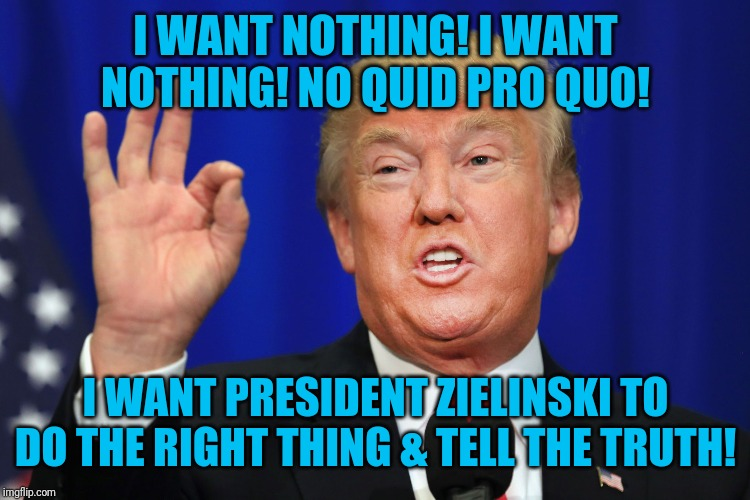 The Best Trump |  I WANT NOTHING! I WANT NOTHING! NO QUID PRO QUO! I WANT PRESIDENT ZIELINSKI TO DO THE RIGHT THING & TELL THE TRUTH! | image tagged in the best trump | made w/ Imgflip meme maker