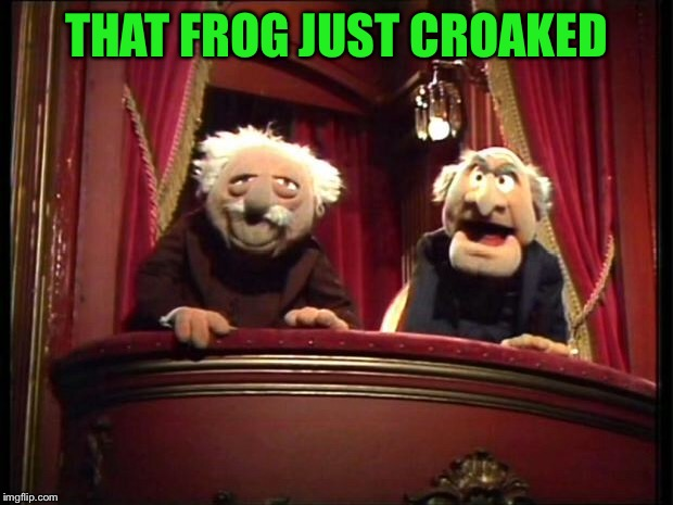 Statler and Waldorf | THAT FROG JUST CROAKED | image tagged in statler and waldorf | made w/ Imgflip meme maker