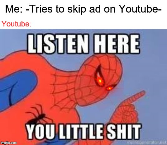 NOW LISTEN HERE YOU LITTLE SHIT | Me: -Tries to skip ad on Youtube- Youtube: | image tagged in now listen here you little shit | made w/ Imgflip meme maker