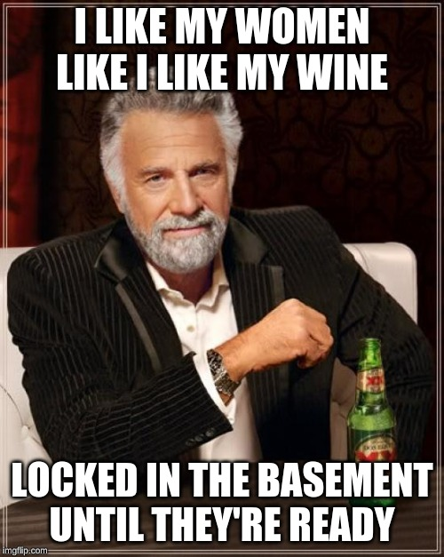 The Most Interesting Man In The World Meme | I LIKE MY WOMEN LIKE I LIKE MY WINE LOCKED IN THE BASEMENT UNTIL THEY'RE READY | image tagged in memes,the most interesting man in the world,wine,woman | made w/ Imgflip meme maker