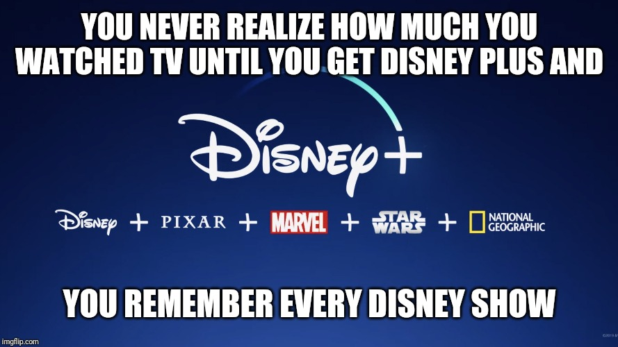 YOU NEVER REALIZE HOW MUCH YOU WATCHED TV UNTIL YOU GET DISNEY PLUS AND; YOU REMEMBER EVERY DISNEY SHOW | image tagged in og disney | made w/ Imgflip meme maker