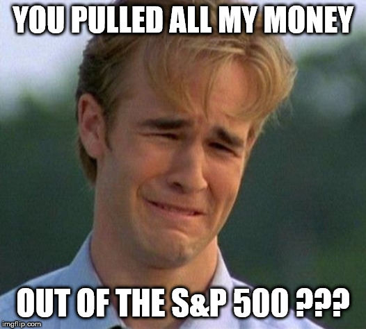 1990s First World Problems |  YOU PULLED ALL MY MONEY; OUT OF THE S&P 500 ??? | image tagged in memes,1990s first world problems | made w/ Imgflip meme maker