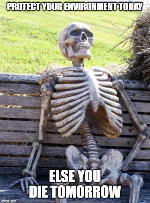 Waiting Skeleton Meme | PROTECT YOUR ENVIRONMENT TODAY ELSE YOU DIE TOMORROW | image tagged in memes,waiting skeleton | made w/ Imgflip meme maker
