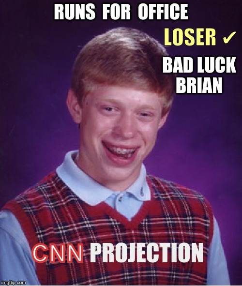 CNN PROJECTION: Brian | RUNS  FOR  OFFICE LOSER ✔ BAD LUCKBRIAN CNN PROJECTION | image tagged in memes,bad luck brian,cnn,elections,rick75230 | made w/ Imgflip meme maker