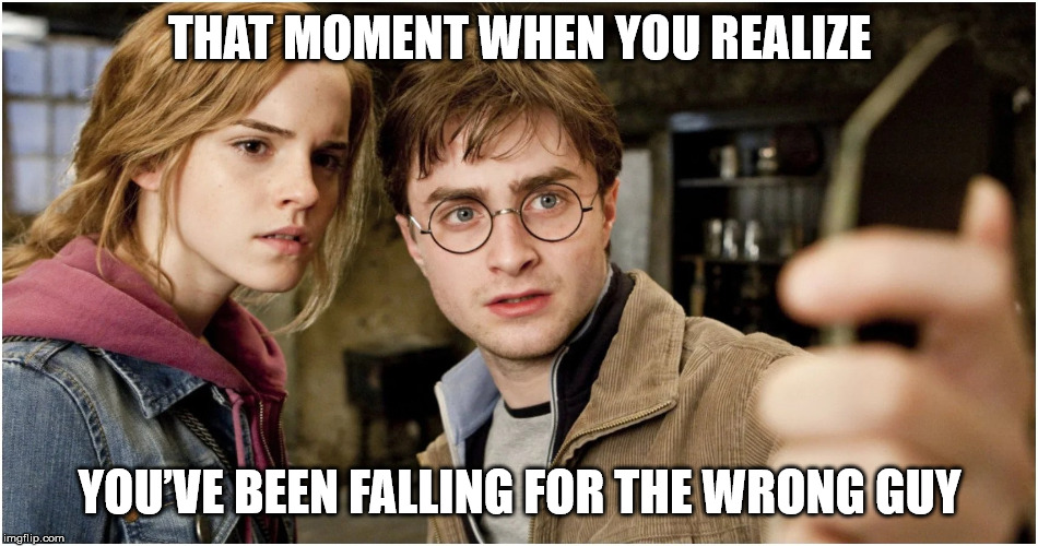 Harry Potter Meme 1 | THAT MOMENT WHEN YOU REALIZE YOU'VE BEEN FALLING FOR THE WRONG GUY | image tagged in harry potter,hermione granger,ron weasley | made w/ Imgflip meme maker