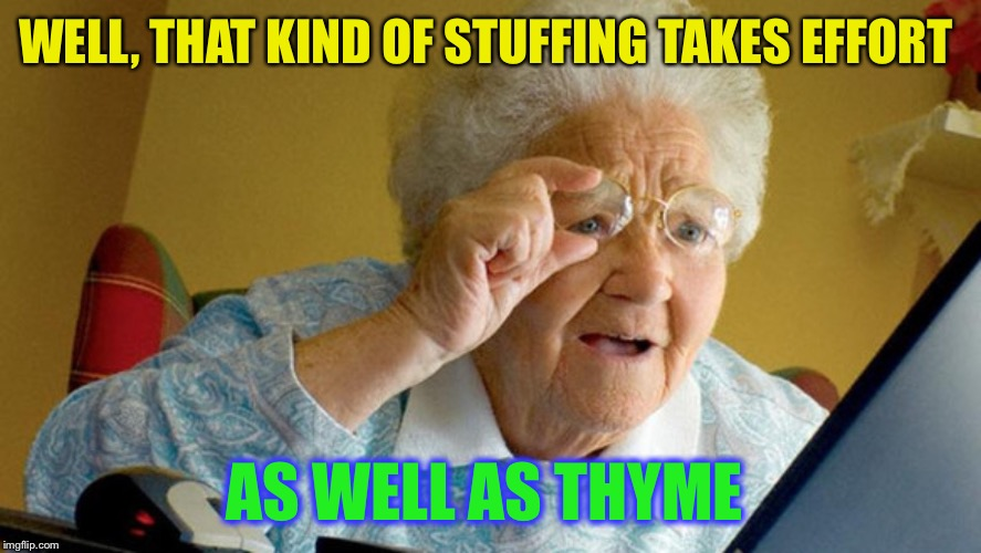grandma computer | WELL, THAT KIND OF STUFFING TAKES EFFORT AS WELL AS THYME | image tagged in grandma computer | made w/ Imgflip meme maker