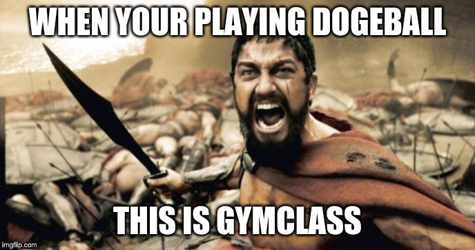 Sparta Leonidas Meme | WHEN YOUR PLAYING DOGEBALL THIS IS GYMCLASS | image tagged in memes,sparta leonidas | made w/ Imgflip meme maker