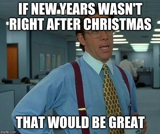 That Would Be Great | IF NEW YEARS WASN'T RIGHT AFTER CHRISTMAS THAT WOULD BE GREAT | image tagged in memes,that would be great | made w/ Imgflip meme maker