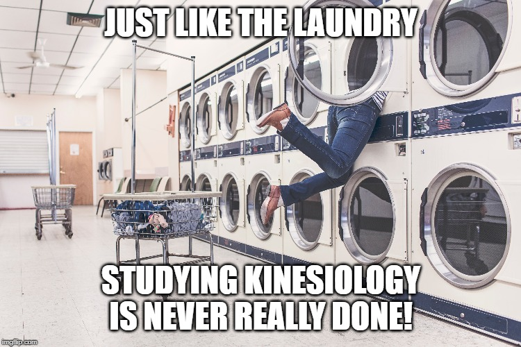 studying | JUST LIKE THE LAUNDRY STUDYING KINESIOLOGY IS NEVER REALLY DONE! | image tagged in studying | made w/ Imgflip meme maker