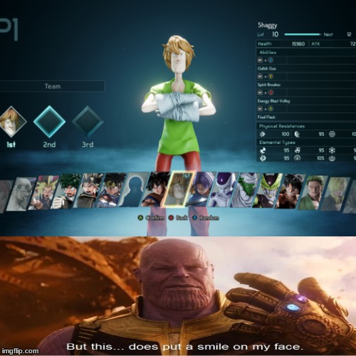 image tagged in thanos,ultra instinct shaggy,jump | made w/ Imgflip meme maker