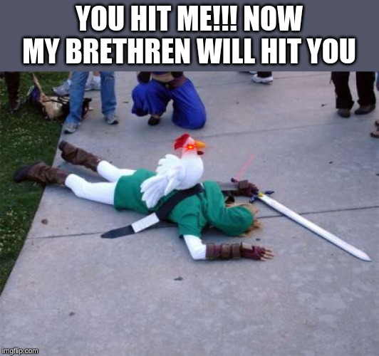 Zelda Chicken | YOU HIT ME!!! NOW MY BRETHREN WILL HIT YOU | image tagged in zelda chicken | made w/ Imgflip meme maker