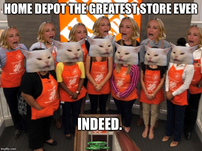 What I imagine Home Depot in the future. | HOME DEPOT THE GREATEST STORE EVER INDEED. | image tagged in home depot,woman yelling at cat,hot cat | made w/ Imgflip meme maker
