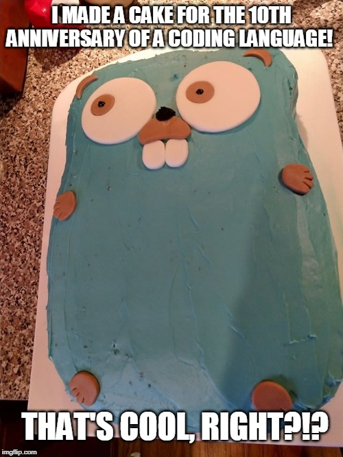Computer Nerd Cake | I MADE A CAKE FOR THE 10TH ANNIVERSARY OF A CODING LANGUAGE! THAT'S COOL, RIGHT?!? | image tagged in computer nerd,happy birthday,golang,birthday cake,programmers,nerds | made w/ Imgflip meme maker