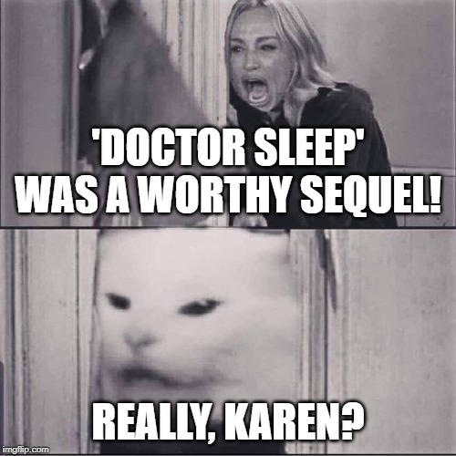 'Doctor Sleep' Was a Cat-astrophe. | 'DOCTOR SLEEP' WAS A WORTHY SEQUEL! REALLY, KAREN? | image tagged in woman yells are shining,woman yelling at cat,woman yelling at a cat,doctor sleep,the shining | made w/ Imgflip meme maker