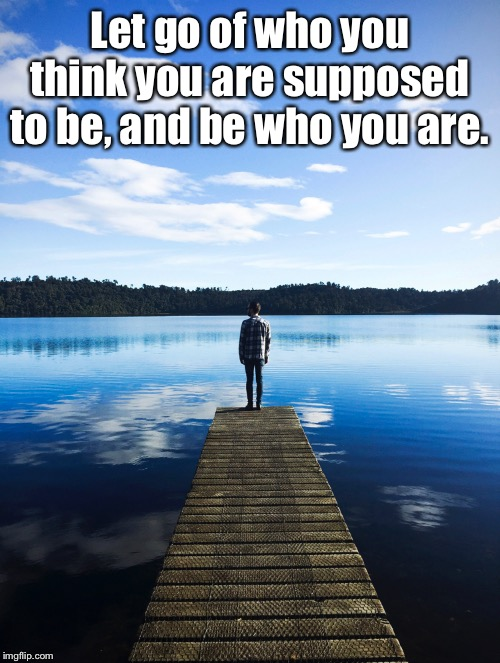 Let go of who you think you are supposed to be, and be who you are. | image tagged in be who you are,be you,be yourself | made w/ Imgflip meme maker