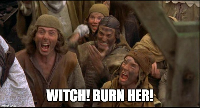Monty Python witch | WITCH! BURN HER! | image tagged in monty python witch | made w/ Imgflip meme maker