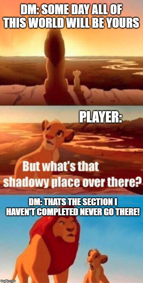 Simba Shadowy Place | DM: SOME DAY ALL OF THIS WORLD WILL BE YOURS PLAYER: DM: THATS THE SECTION I HAVEN'T COMPLETED NEVER GO THERE! | image tagged in simba shadowy place,dungeons and dragons,mistakes,lion king | made w/ Imgflip meme maker