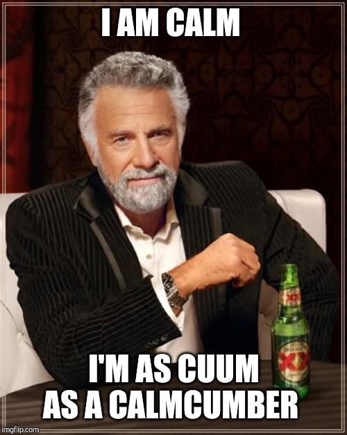 The Most Interesting Man In The World Meme | I AM CALM I'M AS CUUM AS A CALMCUMBER | image tagged in memes,the most interesting man in the world | made w/ Imgflip meme maker