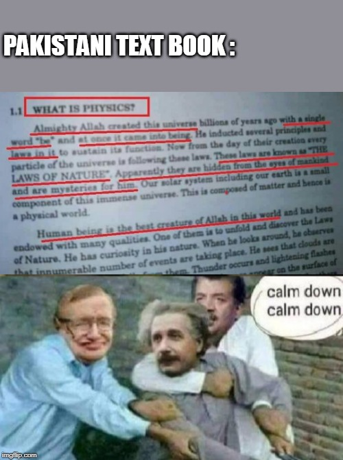 physics | PAKISTANI TEXT BOOK : | image tagged in einstein | made w/ Imgflip meme maker