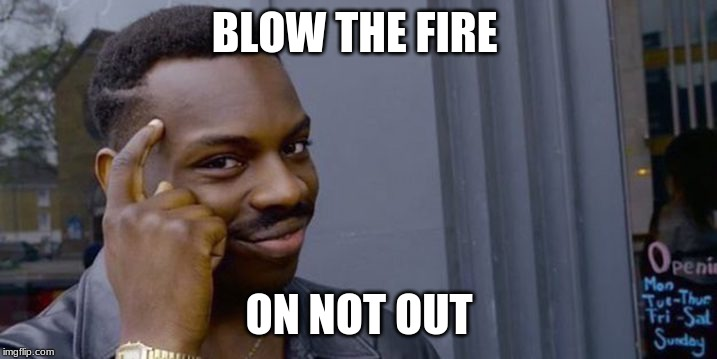 Point to head  | BLOW THE FIRE ON NOT OUT | image tagged in point to head | made w/ Imgflip meme maker