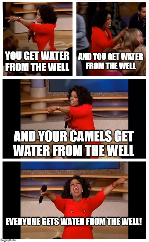 Oprah You Get A Car Everybody Gets A Car | YOU GET WATER FROM THE WELL AND YOU GET WATER FROM THE WELL AND YOUR CAMELS GET WATER FROM THE WELL EVERYONE GETS WATER FROM THE WELL! | image tagged in memes,oprah you get a car everybody gets a car | made w/ Imgflip meme maker