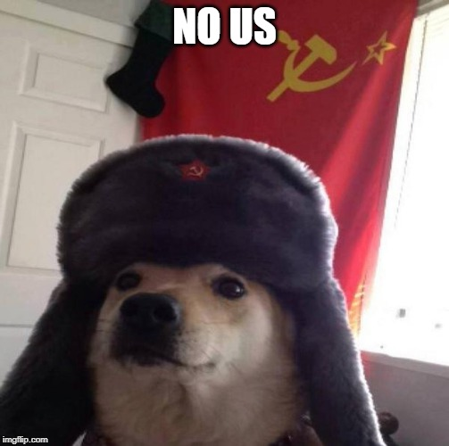 Russian Doge | NO US | image tagged in russian doge | made w/ Imgflip meme maker