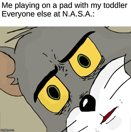 Unsettled Tom Meme | Me playing on a pad with my toddler Everyone else at N.A.S.A.: | image tagged in memes,unsettled tom | made w/ Imgflip meme maker