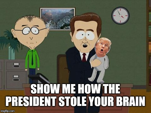 Hahahahahaha | SHOW ME HOW THE PRESIDENT STOLE YOUR BRAIN | image tagged in trump,doll | made w/ Imgflip meme maker