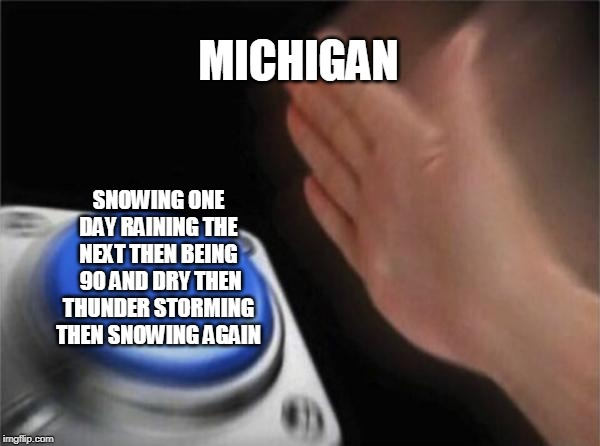 Blank Nut Button |  MICHIGAN; SNOWING ONE DAY RAINING THE NEXT THEN BEING  90 AND DRY THEN THUNDER STORMING THEN SNOWING AGAIN | image tagged in memes,blank nut button | made w/ Imgflip meme maker