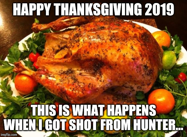Roasted turkey |  HAPPY THANKSGIVING 2019; THIS IS WHAT HAPPENS WHEN I GOT SHOT FROM HUNTER... | image tagged in roasted turkey | made w/ Imgflip meme maker