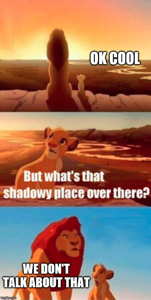 Simba Shadowy Place | OK COOL WE DON'T TALK ABOUT THAT | image tagged in memes,simba shadowy place | made w/ Imgflip meme maker