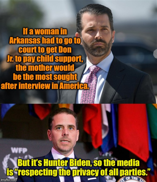 The media is so obviously biased against Trump that they're pushing people towards him instead of away from him.  Landslide 2020 | If a woman in Arkansas had to go to court to get Don Jr. to pay child support, the mother would be the most sought after interview in Americ | image tagged in maga | made w/ Imgflip meme maker
