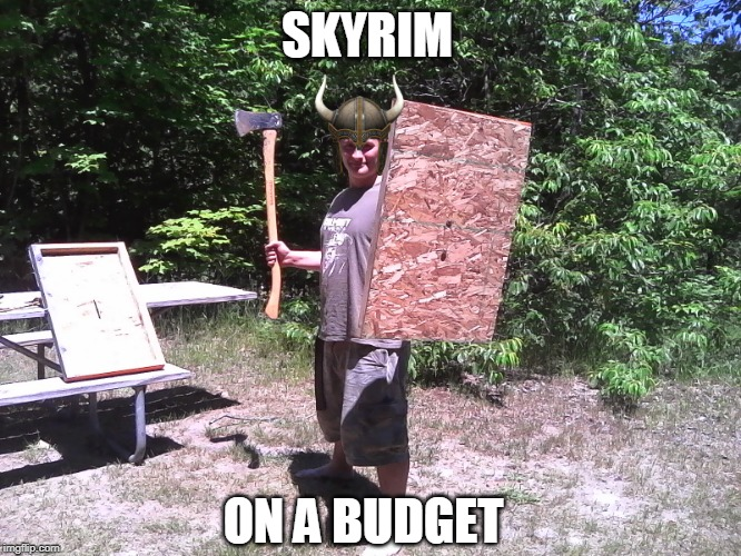 THAT SHIELD PROBABLY WONT WORK DUDE | SKYRIM ON A BUDGET | image tagged in skyrim,skyrim meme,wtf,budget,redneck | made w/ Imgflip meme maker