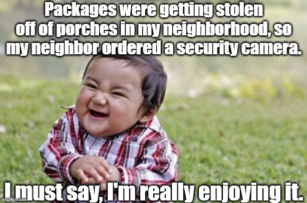 Hmmmm... |  Packages were getting stolen off of porches in my neighborhood, so my neighbor ordered a security camera. I must say, I'm really enjoying it. | image tagged in amazon,ups,ebay,post office,fedex | made w/ Imgflip meme maker