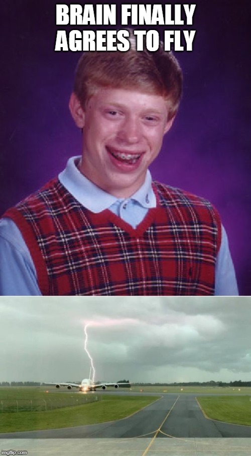 what could go wrong? |  BRAIN FINALLY AGREES TO FLY | image tagged in memes,bad luck brian,lightning,flying | made w/ Imgflip meme maker
