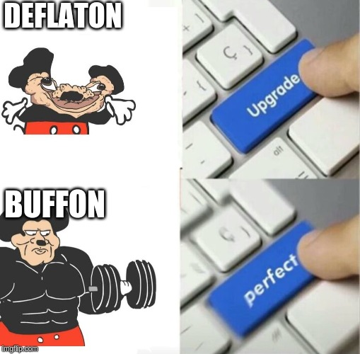 delfaton mouse to buffon mouse |  DEFLATON; BUFFON | image tagged in upgraded to perfection | made w/ Imgflip meme maker