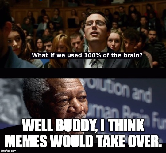 What if we used 100 % of the brain? | WELL BUDDY, I THINK MEMES WOULD TAKE OVER. | image tagged in what if we used 100  of the brain | made w/ Imgflip meme maker