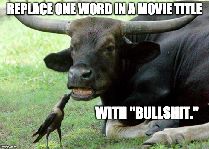 "bullshit at the movies |  REPLACE ONE WORD IN A MOVIE TITLE; WITH ""BULLSHIT."" 