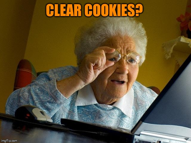 Grandma Finds The Internet Meme | CLEAR COOKIES? | image tagged in memes,grandma finds the internet | made w/ Imgflip meme maker