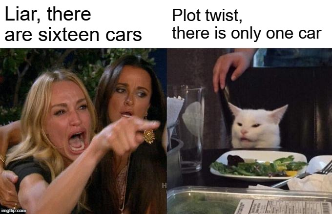 Woman Yelling At Cat Meme | Liar, there are sixteen cars Plot twist, there is only one car | image tagged in memes,woman yelling at cat | made w/ Imgflip meme maker