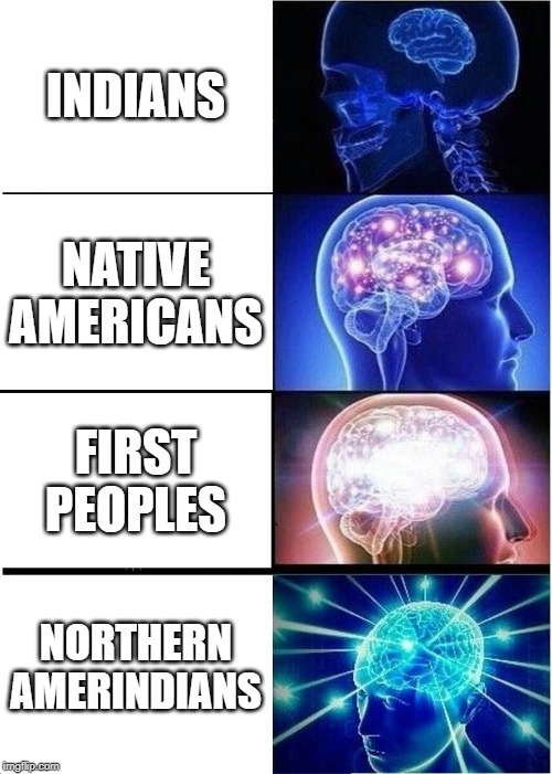 American opinions needed |  INDIANS; NATIVE AMERICANS; FIRST PEOPLES; NORTHERN AMERINDIANS | image tagged in memes,expanding brain | made w/ Imgflip meme maker