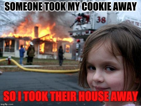 Disaster Girl Meme | SOMEONE TOOK MY COOKIE AWAY SO I TOOK THEIR HOUSE AWAY | image tagged in memes,disaster girl | made w/ Imgflip meme maker